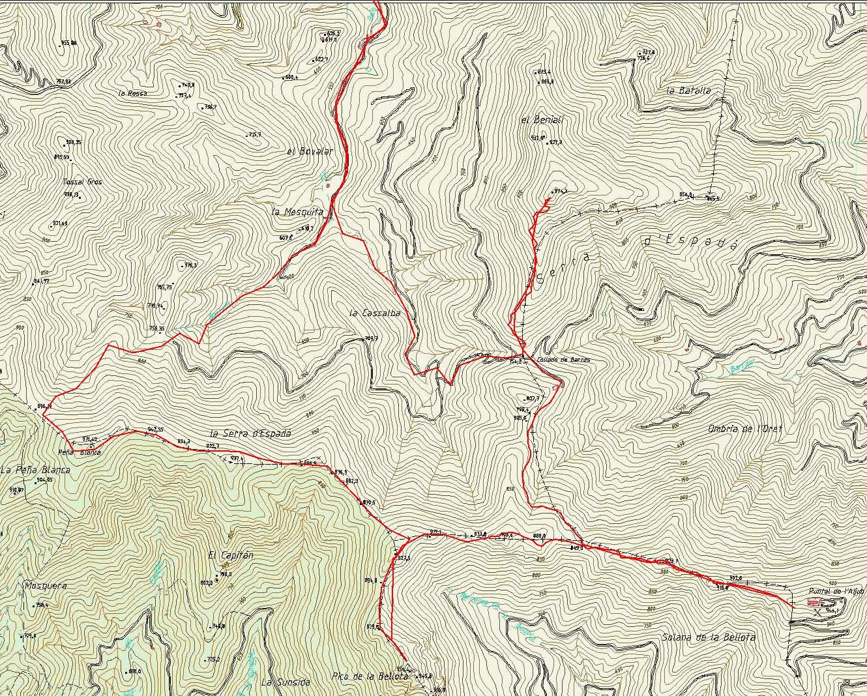 Detalle mapa Azuebar con track